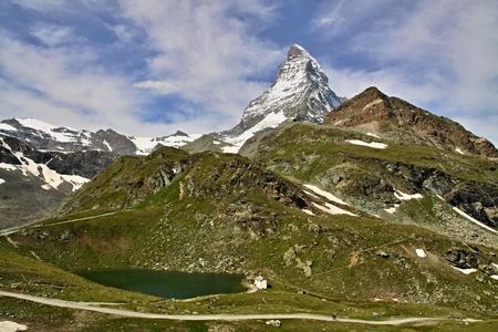 The Matterhorn has become emblem of the Swiss Alps.  Stock Photo