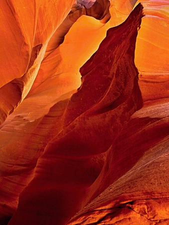 Antelope Canyon and  Navajo Rock Slot Formation.Wave structure generated in sandstone through water errosion in the Anelope Canyon (Navajo Reservation)