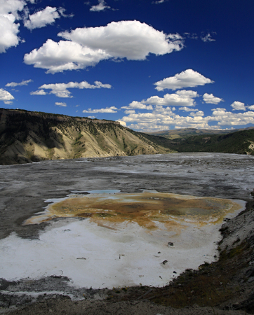 lower yellowstone falls: Grand Prismatic Spring in Yellowstone National Park Stock Photo