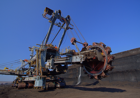 Excavator transfer on new position Stock Photo