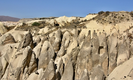 Typical rock formation in Cappadocia, Turkey Stock Photo