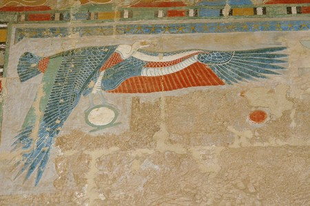 Hapsepsut temple in Egypt and beautiful color fresco Stock Photo