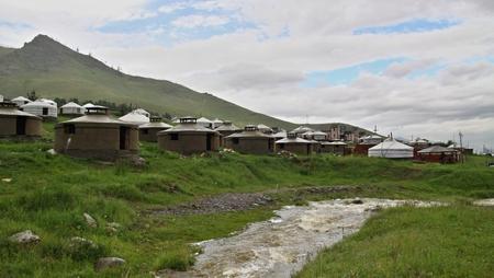Mongolian Yurts near capital town Ullanbaator in Mongolia