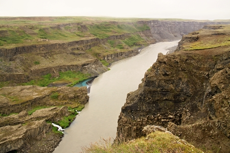 The river in big canyon in Iceland