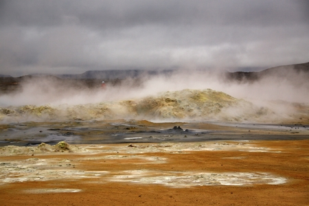 volcano and geyser in national park,Iceland