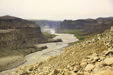 The big waterfall and river canyon in Icelands national park Stock Photo