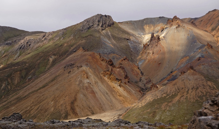 Landscape with old  volcano and hills in Iceland Stock Photo
