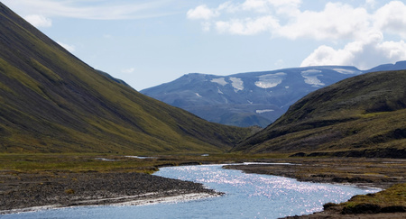 Landscape with old  volcano and river  in Iceland