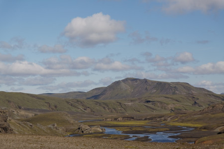Landscape with old volcano and river in Iceland Stock Photo