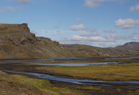 Landscape with old and live volcano and meander river in Iceland Stock Photo