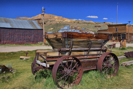 Old Prospectors village with old wagon
