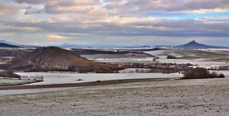 Czech Middle Mountains near Louny town Stock Photo