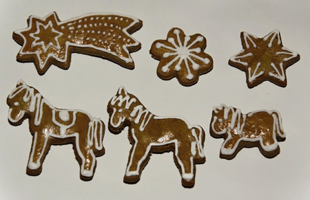 decorated christmas gingerbread on a white background