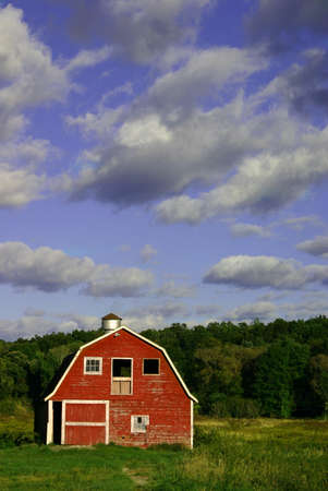 A beautiful vibrant photo of a red barn in green grass with a violet blue sky. photo
