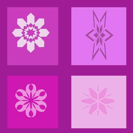 A purple window and shapes illustration. illustration