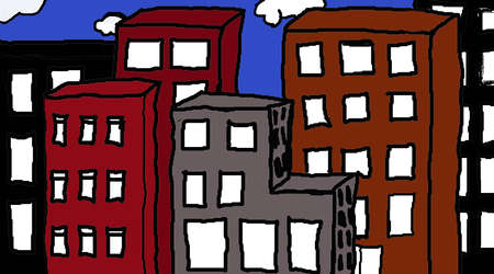 condemned: Bright fun illustration of a city buildings