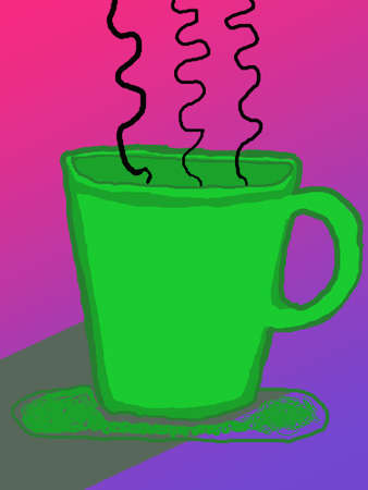 Illustration of a tea cup with steam illustration