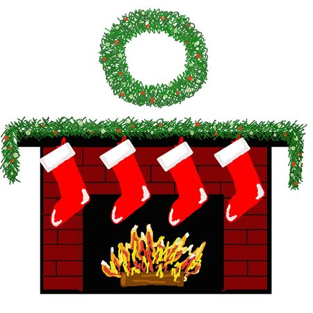 A cozy fireplace decorated for Christmas with stockings. Banco de Imagens