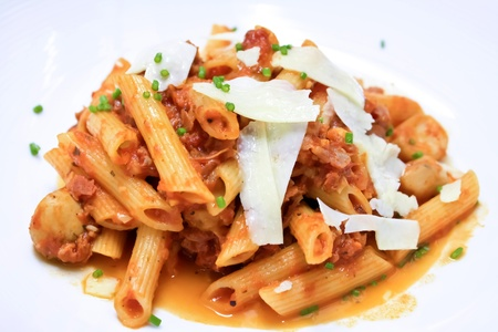 macaroni and cheese: penne pasta with tomato sauce and cheese I