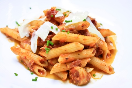 bolognese: penne pasta with tomato sauce and cheese Stock Photo
