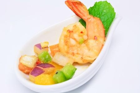 spicy shrimp and avocado cocktail Stock Photo