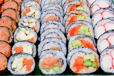 sushi roll: Sushi various fillings are arranged on the plate beautifully