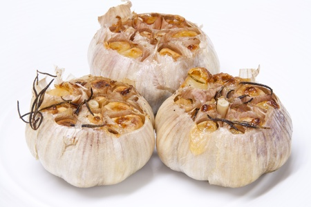 Garlic with rosemary grilled and smoked until fragrant
