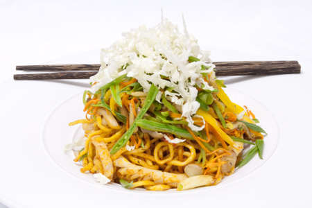 Korean food egg noodle fried with seafood and vegetables photo