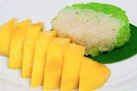 mango with sticky rice thai style dessert Stock Photo