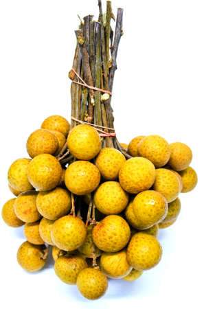 Bunch of fresh Longan on white background