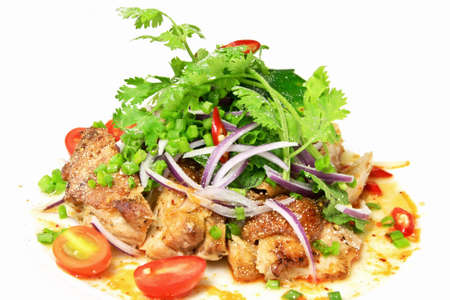 Grilled chicken spicy and sour flavor garnish with coriander and spring onion Stock Photo - 10940279