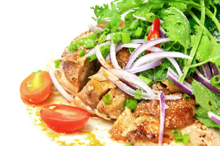Grilled chicken spicy and sour flavor garnish with coriander and spring onion Stock Photo - 10940284