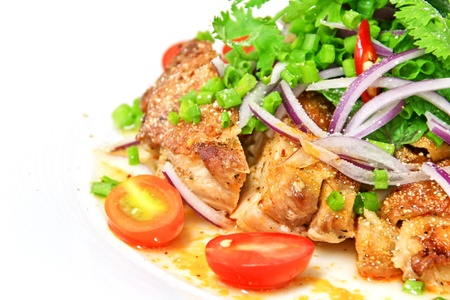 Grilled chicken spicy and sour flavor garnish with coriander and spring onion Stock Photo - 10940280