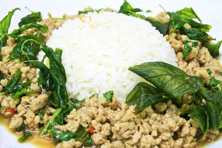 Pork sauteed with garlic and hot basil set on steamed rice photo