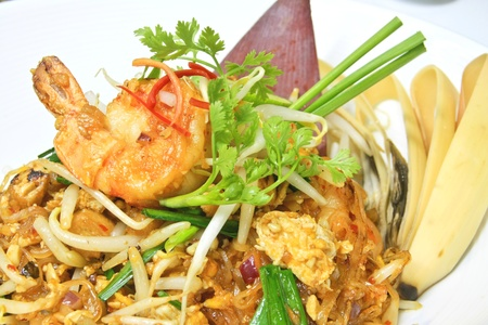 Pad Thai is noodles stir-fried with shrimp, bean sprouts and chives Stock Photo
