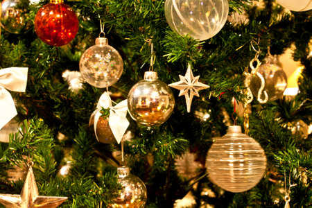 westerner: Christmas tree adorned with  lights and sparkling stars Stock Photo