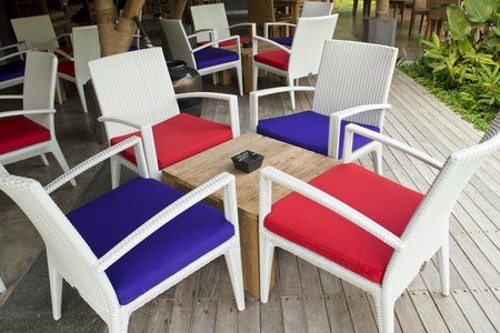 Tables and chairs for relaxing and smoking