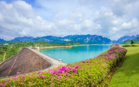 Crest of the  Ratchaprapa dam in Surat Thani, Thailand photo