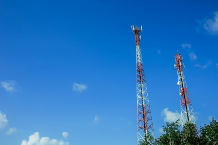 technoligy: A communications tower on sky blackground Stock Photo