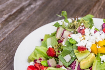 coral bell: Chopped salad with goat cheese Stock Photo
