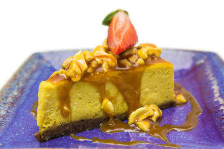 Pumpkin pie with caramel and cashew nuts Stock Photo