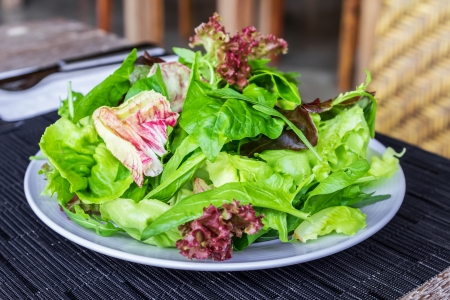 Fresh spring mix salad on white plate photo