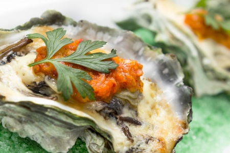oyster shell: Baked oyster shell with cheese