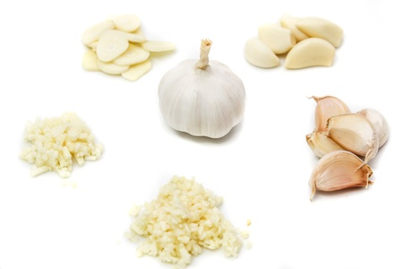 Prepare garlic for cooking on white background