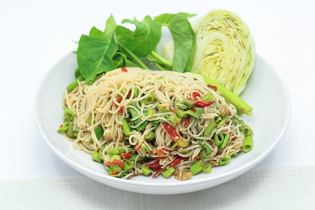 somtum: Rice vermicelli spicy salad, Thai style  Stock Photo