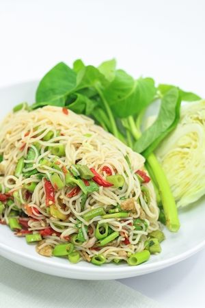 Rice vermicelli spicy salad, Thai style  Stock Photo