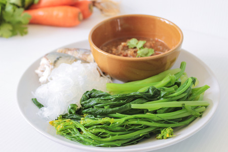 Chili Sauce With Steamed Fish And Blanched Vegetables