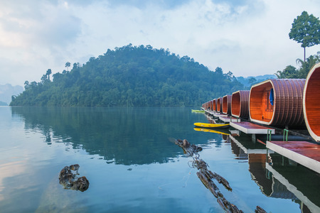 Raft House in Ratchaprapha Dam, Surat Thani , Thailand