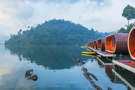 Raft House in Ratchaprapha Dam, Surat Thani , Thailand