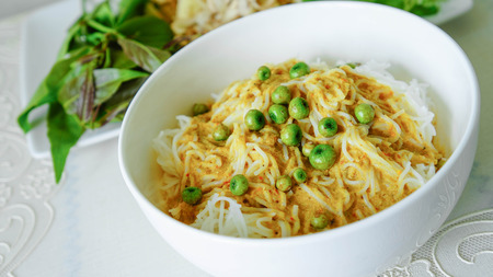 Traditional Thai cuisine, rice vermicelli eaten with curry